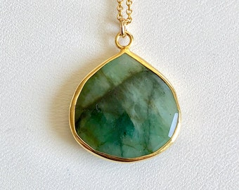 Raw Emerald Necklace, May Birthstone, Emerald Necklace, Emerald Pendant, Raw Emerald Pendant, Raw Emerald, Necklace, Gifts for Her