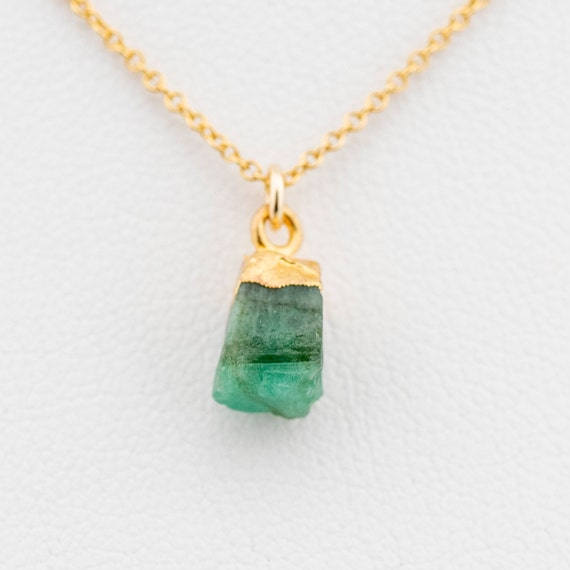 Birthstone Necklace Emerald Jewelry Raw Emerald Necklace Emerald Necklace Stone Necklace May Birthstone Necklace
