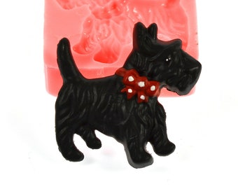 Flexible Easy To Use Dog Mould for Use With Food Fondant Chocolate Crafts Jewelry Resin Polymer Clay Scottish Terrier Silicone Mold