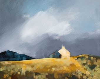 Croft in storm light oil painting on canvas