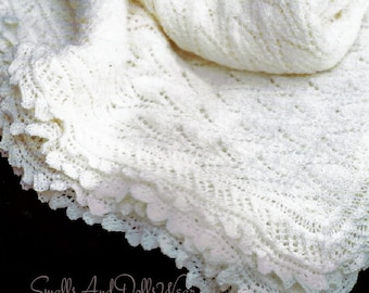 Vintage Knitting Pattern Knit Baby Lace Edged Shawl Pointed Chevron Openwork PDF Instant Digital Download Square Heirloom Blanket 2 Ply