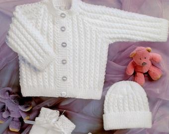 09102ea91a5d Vintage Knitting Pattern Baby Girl Boy Jacket Cardigan Hat Mittens Booties  Set Easy Knit PDF Instant Digital Download Preemie - 2 yrs 4 Ply