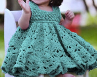 a26a58bd830 Vintage Crochet Pattern Baby Girl Pretty Lacy Berry and Shell Stitch Party  Dress PDF Instant Digital Download Newborn - 12 months 8 Ply