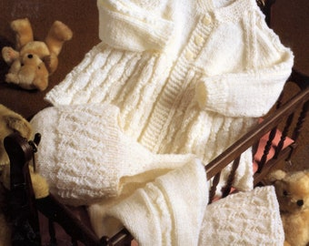 Vintage Knitting Pattern Knit Baby 5 Piece Pram Set Coat Leggings Bonnet Helmet Mitts PDF Instant Digital Download 0-9m DK 8 Ply