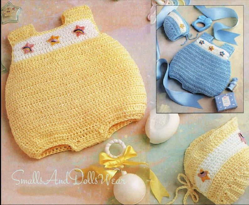 a14eaac7f782 Vintage Crochet Pattern Baby Boy Girl Bubble Romper   Bonnet