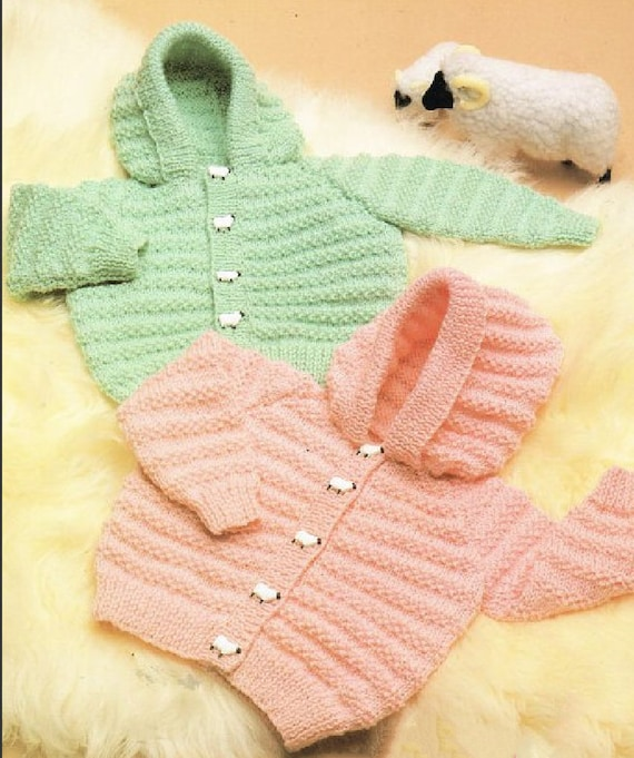 58afadc37 PDF Vintage Knitting Pattern Knit Baby Boys Girls Hooded