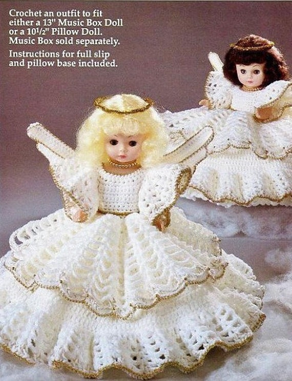 Vintage Crochet Pattern Angel Pillow Doll Bed Doll Music Box Etsy