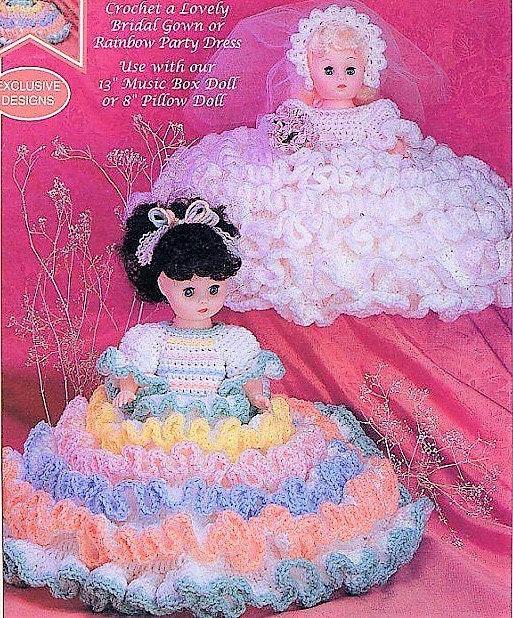Vintage Crochet Pattern Rainbow Party Dress Wedding Dress