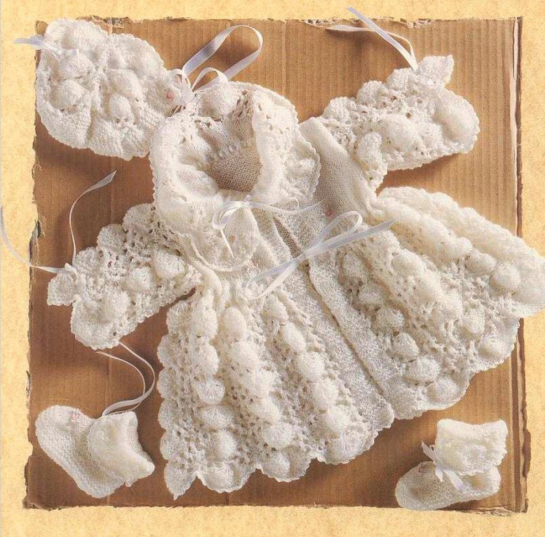 3dc477a5529d Vintage Knitting Pattern Knit Baby Girl Puff Pippy Shell