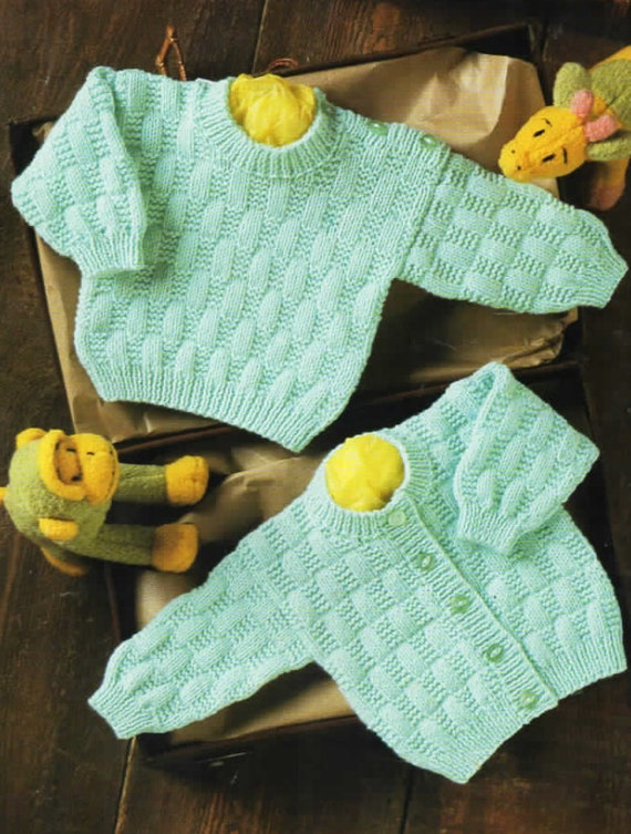 Textured Cardigan Sweater Digital Download Vintage Knitting Pattern