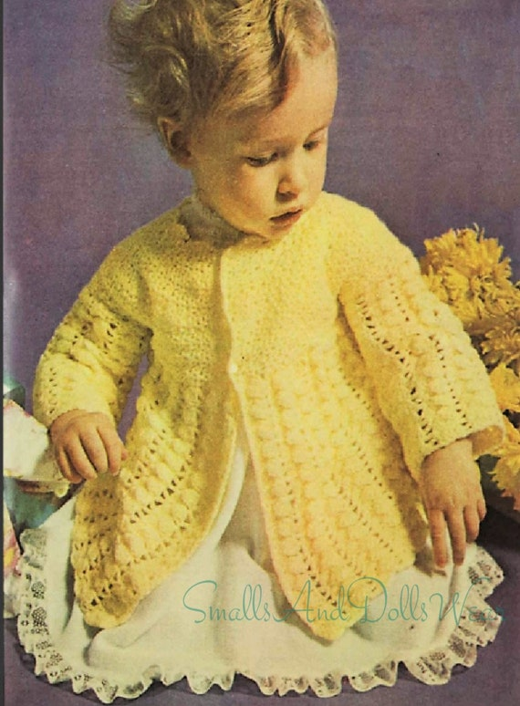 71f0be5c7 PDF Vintage 60s Knitting Pattern Knit Baby Girl Long Lacy