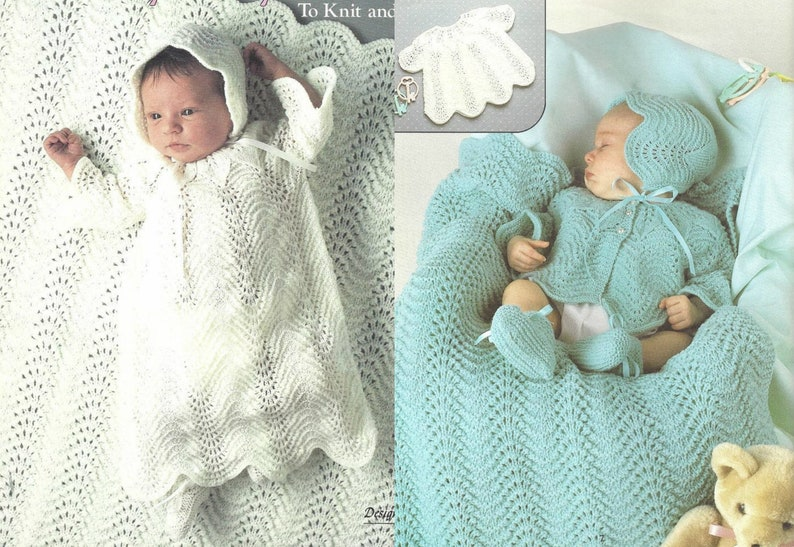 39331872f Vintage Knitting Pattern Knit Baby Girl Shell Stitch Layette