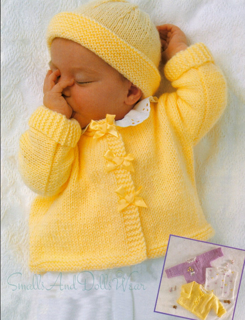 4ed46e535 Vintage Knitting Pattern Knit Baby Girl Ribbon Cardigan Jacket