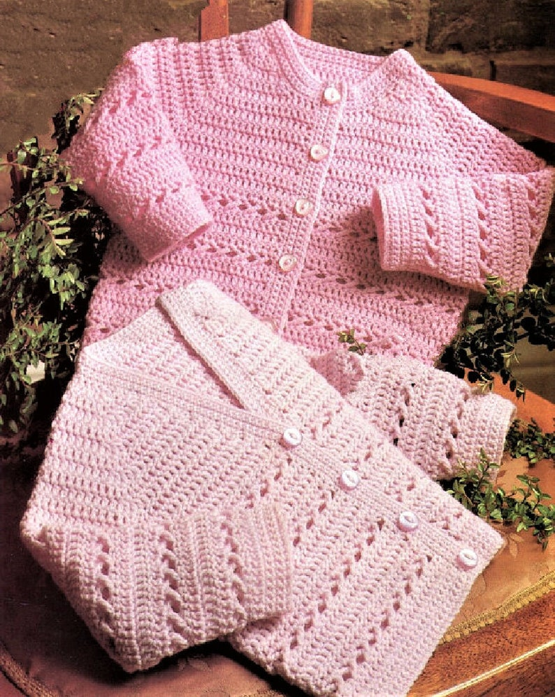 e4494d2423cd Vintage Crochet Pattern Baby to Toddler Cardigans Sweaters 2