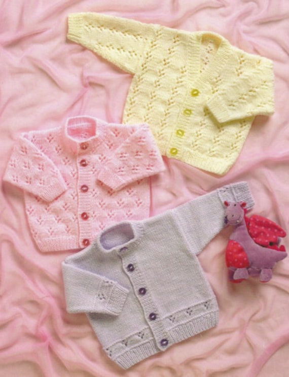 660324fe7 Vintage Knitting Pattern Knit Pretty Baby Cardigan Sweaters 3