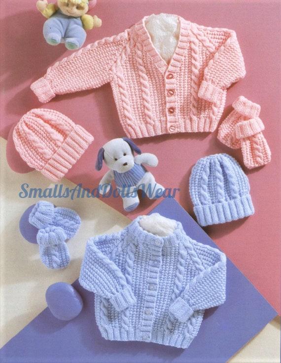 Vintage Knitting Pattern Knit Baby Boy Girl Cable & Rib Stitch