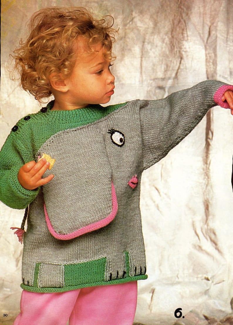 6140955bb Vintage Knitting Pattern Knit Kids Elephant Sweater PDF