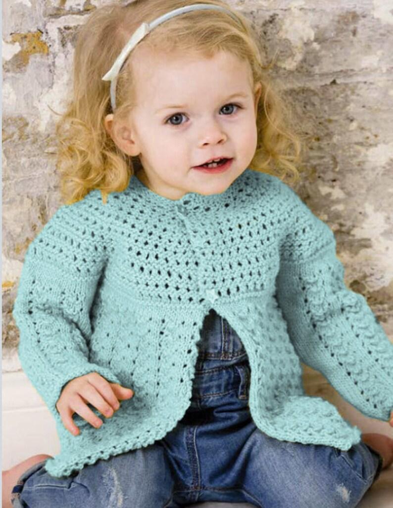 98492a64d Vintage Knitting Pattern Baby Girl Toddler Girl Long Cardigan