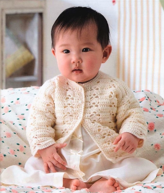 12 Months DK 8 Ply Vintage Crochet Pattern Baby Girl Pretty Paneled Cardigan and Pullover Sweaters PDF Instant Digital Download Preemie