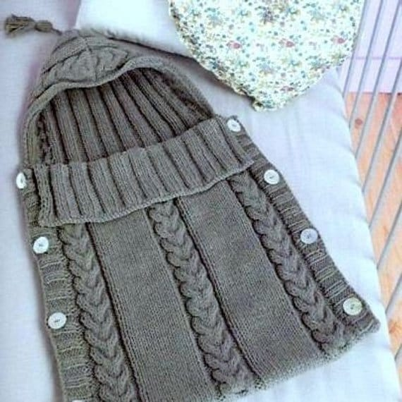Vintage Knitting Pattern Baby Bunting Cable Knit Sleeping ...