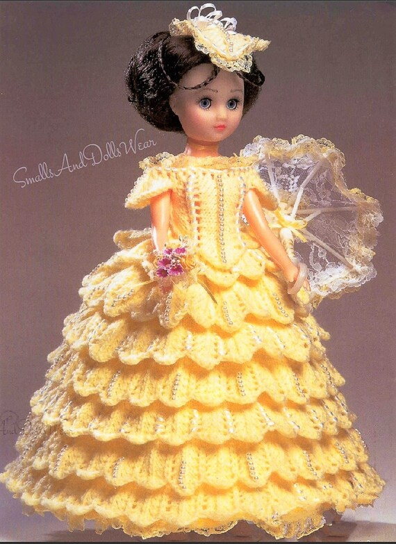 Vintage Knitting Pattern Knit Ruffled Tiered Victorian Fancy Period Dress Outfit for 15 Inch Dolls Instant Digital Download DK 8 Ply
