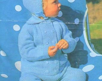 PDF Vintage Knitting Pattern Knit Baby Boys Girls Pram Suit Set 3 Piece Outfit Instant Digital Download Coat Leggings Hats 6m - 2yrs