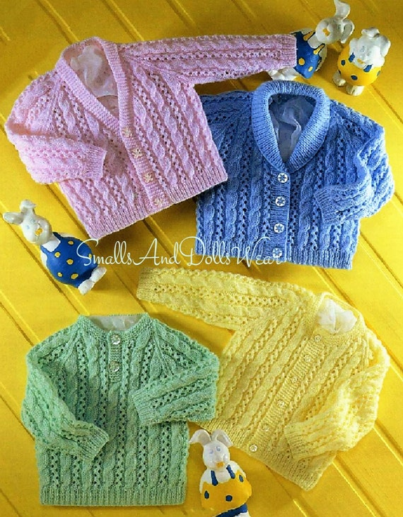 Vintage Knitting Pattern Baby Cable and Lace Cardigans and Sweater Jumper PDF Instant Digital Download Preemie -2 yrs DK 8 Ply