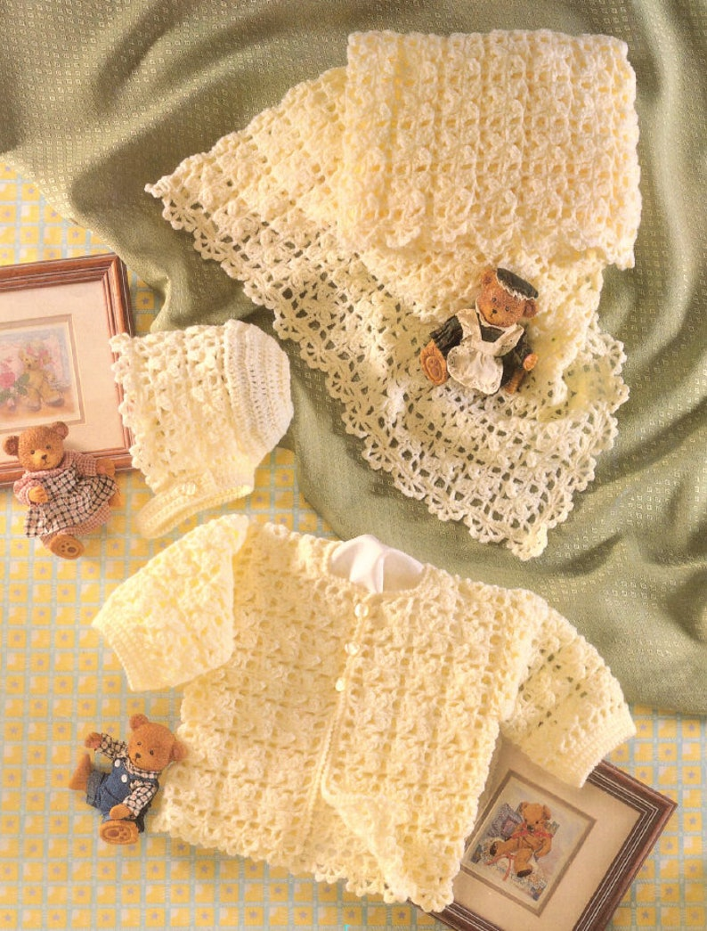 18b507568e3e Vintage Crochet Pattern Baby Girls Lacy Flower 3 Piece Set