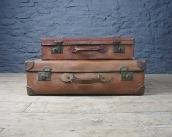 Pair Of Vintage Leather Suitcases ~ Decorative Bedroom Living Room Storage  ~ Travel Luggage