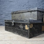 Pair of Antique Military Trunks ~ Industrial Metal Chests ~ Great Patina ~ Interesting & Decorative Storage