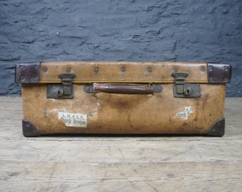 Antique Leather Suitcase ~ Well Travelled ~ Cavendish St London Interest ~  Vintage Country House Style ~ Decorative Storage