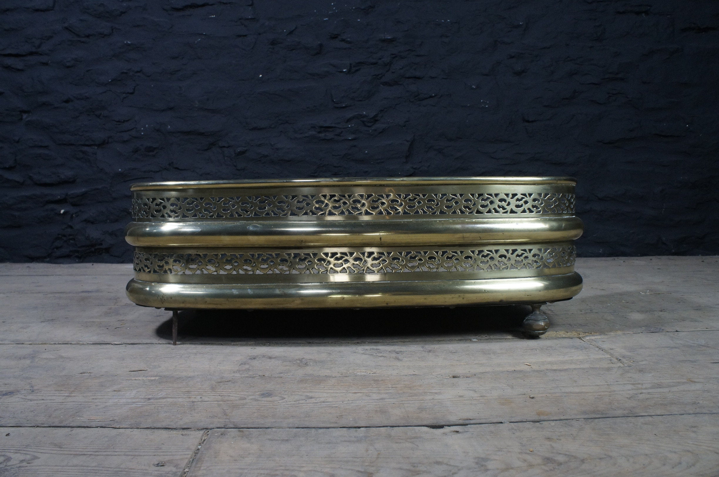 Small Antique Solid Brass Fireplace Fender Pierced Design Etsy