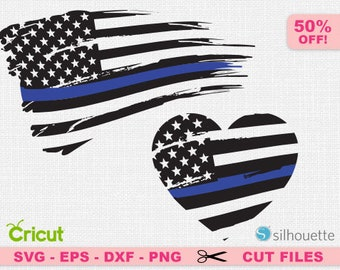 Distressed Flag svg, Police svg, BLue line svg, USA svg, American flag svg, Distressed Flag cricut. Grunge svg, Patriotic svg, Heart svg