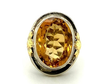 Bezel Set Natural Citrine Ring Bypass Ring in Solid Sterling Silver Healing Gem From Canada OOAK 13th Anniversary November Birthstone