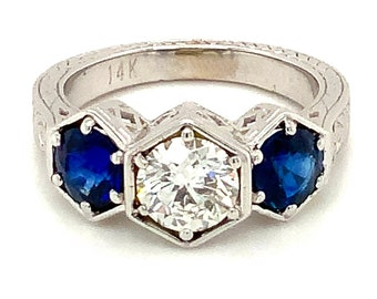 Circa 2001, Antique Style Sapphire and Diamond Three Stone Ring, 14k White Gold, Size 7.5