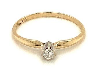Circa 1990, Solitaire Diamond Ring, 10k Yellow Gold, Size 7