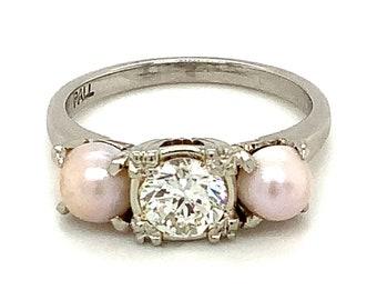 Circa 1945, Transitional OEC Diamond and Pearl 3 Stone Ring, 14k White Gold, Palladium, Size 6.75