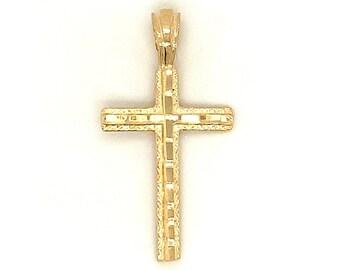 Circa 1990, Diamond Cut Cross Pendant, 14k Yellow Gold