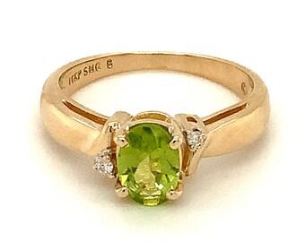 Circa 2000, Oval Peridot and Diamond Ring, 14k Yellow Gold, Size 6