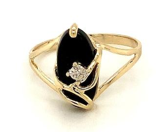 Circa 1980, Black Onyx and Diamond Ring, 10k Yellow Gold, Size 6