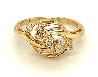 Circa 1990, Petite Diamond Right Hand Ring, 14k Yellow Gold, Size 5