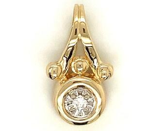 Circa 1990, Diamond Slide Pendant, 14k Yellow Gold