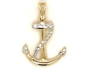 Circa 2000, Diamond Cut Anchor Pendant, 10k Yellow Gold