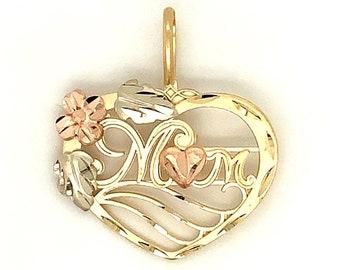 Circa 1990, Mom Heart Pendant, 14k Yellow Gold, White Gold, Rose Gold