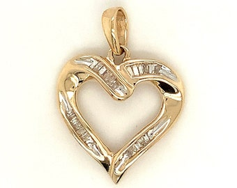 Circa 1990, Diamond Open Heart Pendant, 10k Yellow Gold