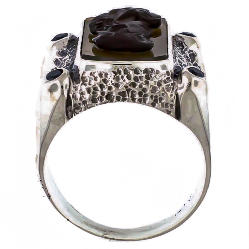 Agate Cameo and Black Diamond Sterling Silver Statement Ring Size 10