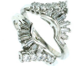 A vintage 14k white gold and diamond gaurd/insert ring 1/2ctw.