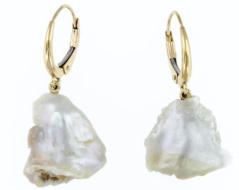 Handmade Natural Tennessee Pearl Drop Earrings, 14k Yellow Gold
