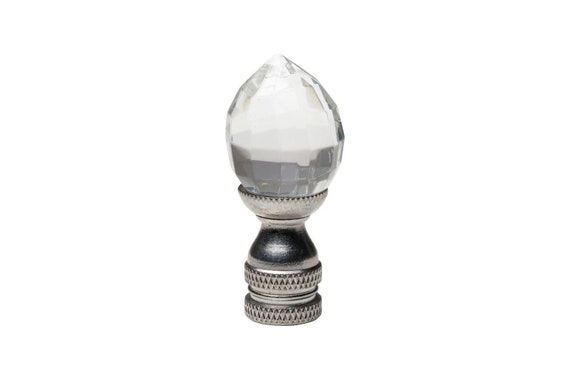 Crystal Pineapple Cut Table Lamp Finial 2 Silver Etsy