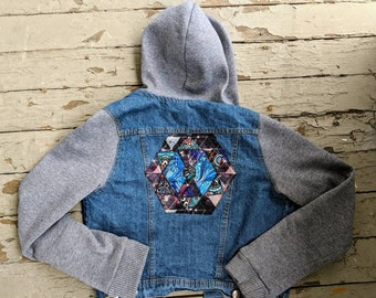 One of a Kind Geometric Denim Vested Hoodie